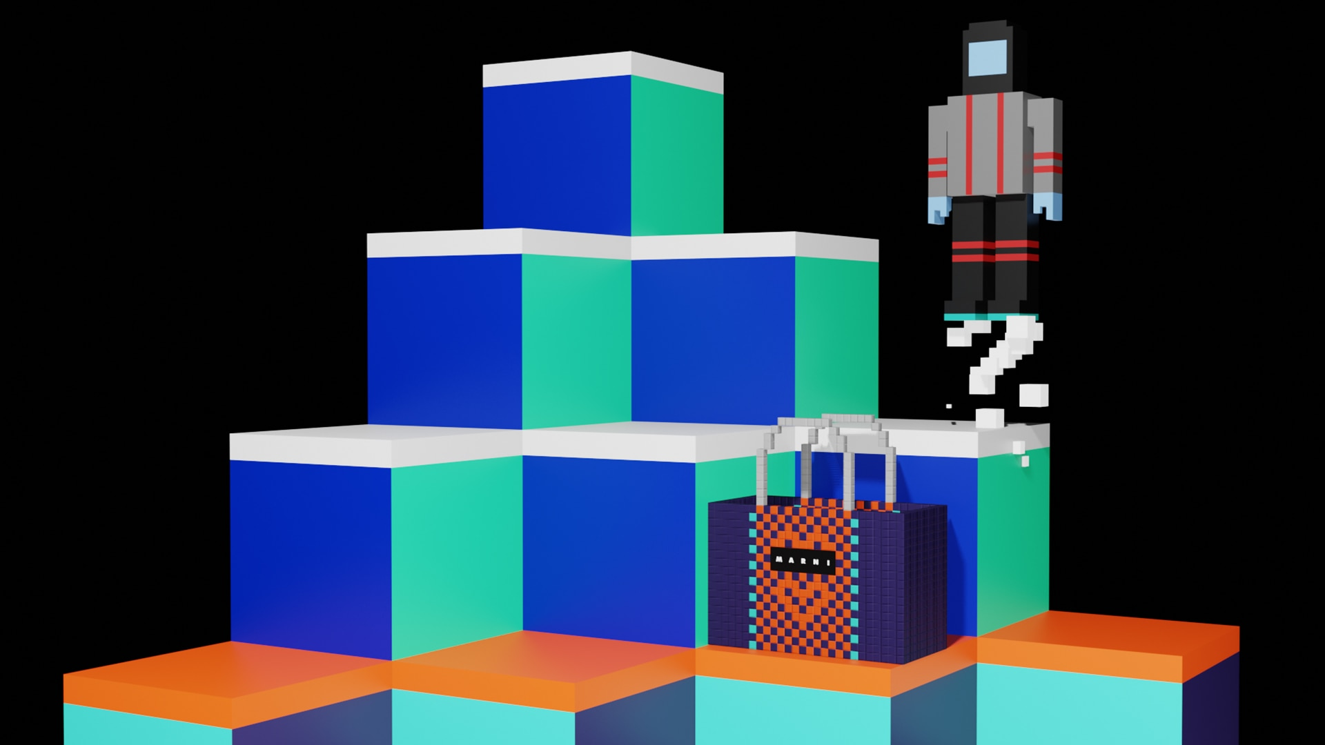 basket bag and colourful cubes scene from Marni Market special video inspired by '80 videogames