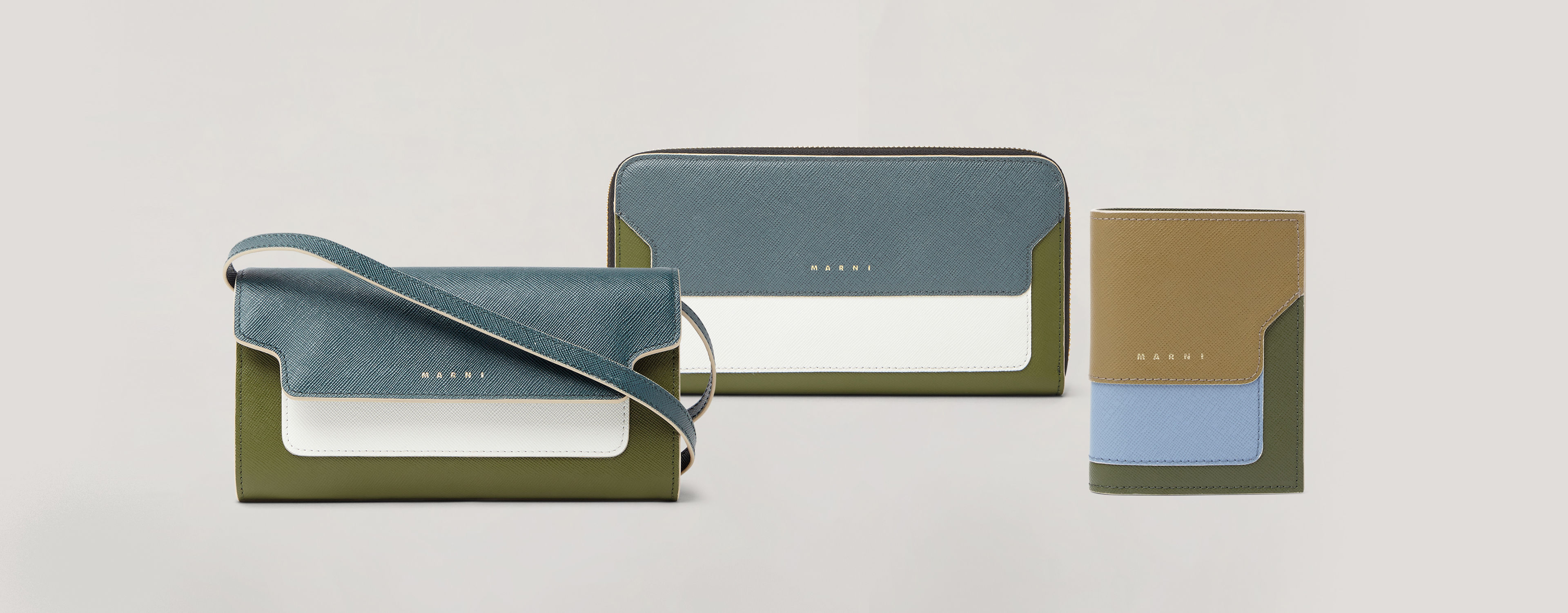Three wallets from the Resort 2020 in green, blue and white