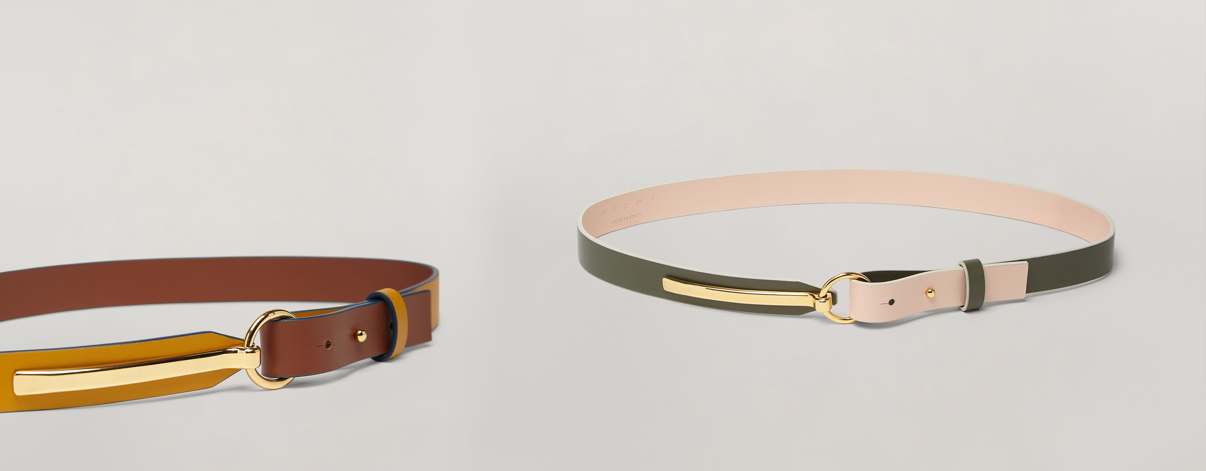 Two belts, one in green and pink, and one in brown and gold from the Resort 2020 collection