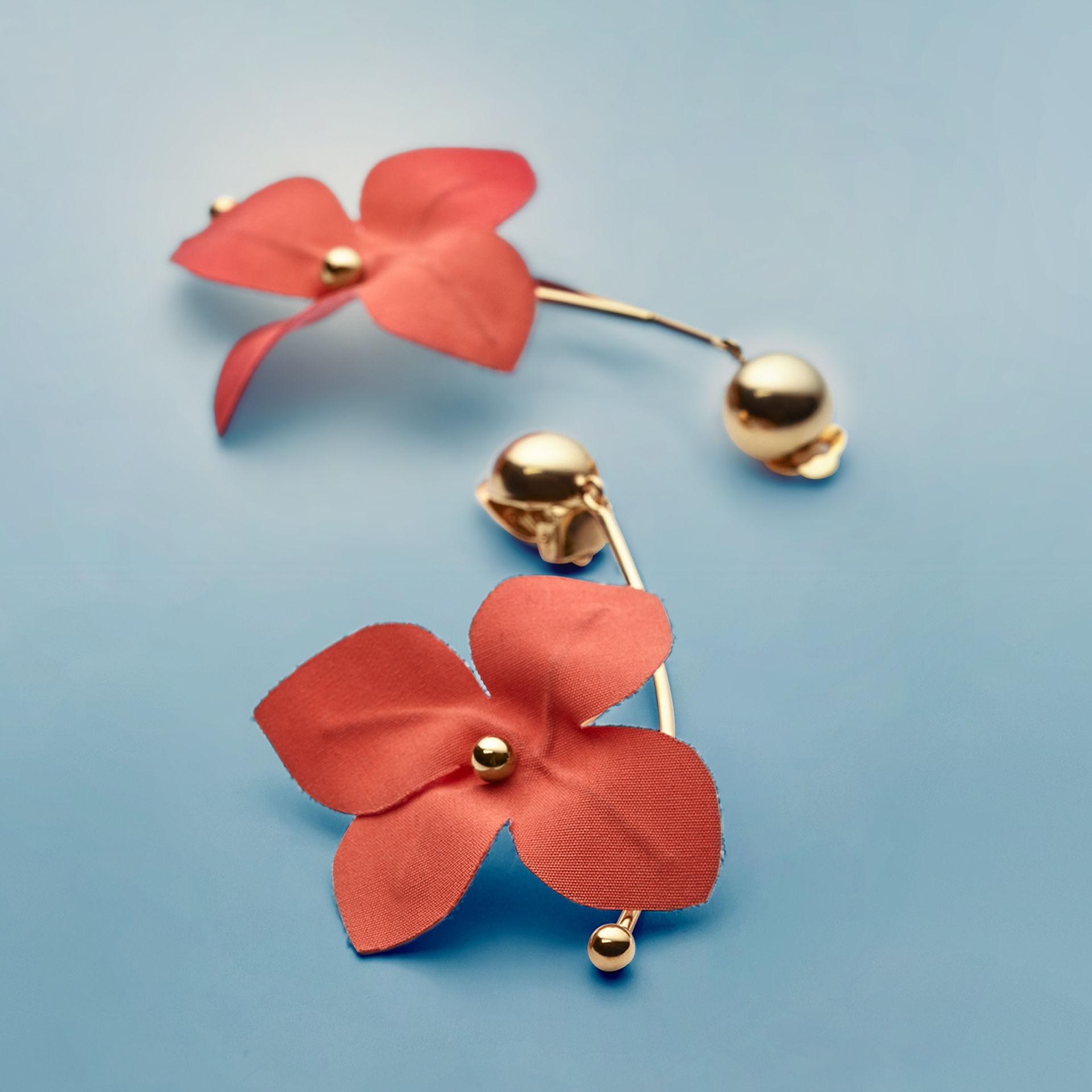 Pink earrings flower-shaped